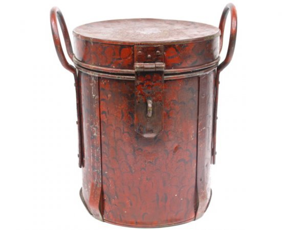 1018: ANTIQUE TOLE PAINTED CONTAINER