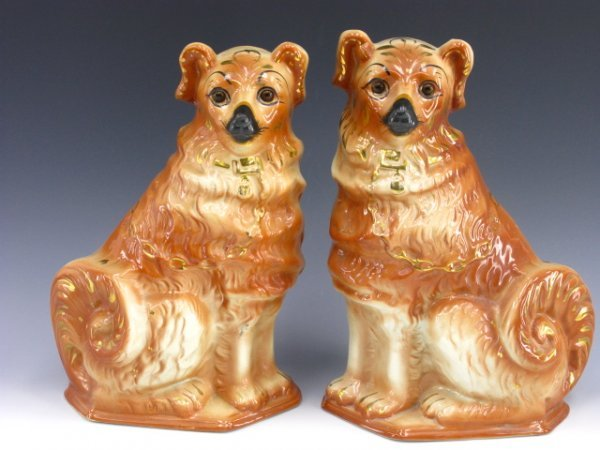 1019: PAIR ANTIQUE GLASS-EYED STAFFORDSHIRE DOGS