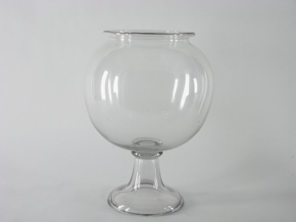 1020: ANTIQUE BLOWN GLASS FISH BOWL ON STAND