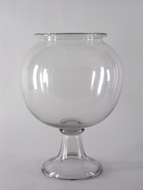 1020: ANTIQUE BLOWN GLASS FISH BOWL ON STAND - 2