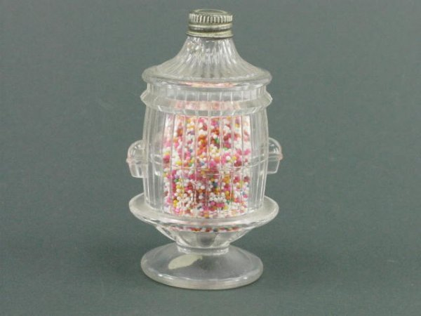 1417: GLASS CANDY CONTAINER BIRD CAGE ON BASE