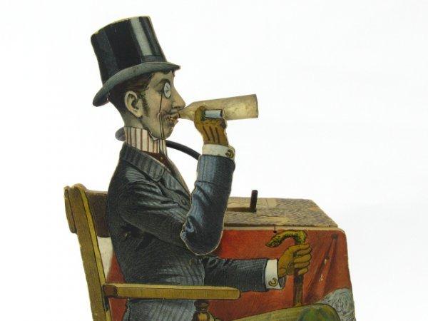 1601: LITHO ON WOOD CLOCKWORK AUTOMATON SMOKER