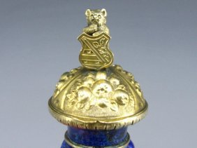 BLUE ENAMEL VINAIGRETTE WITH FAMILY CREST