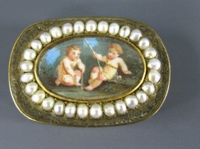 1830 GILT SILVER VINAIGRETTE WITH MINIATURE PAINTIN