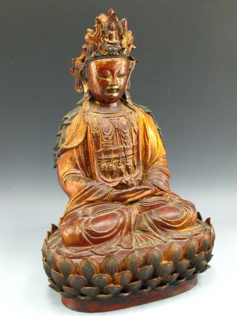 536: AN ANTIQUE BRONZE FIGURE OF BUDDHA, 24 INCHES