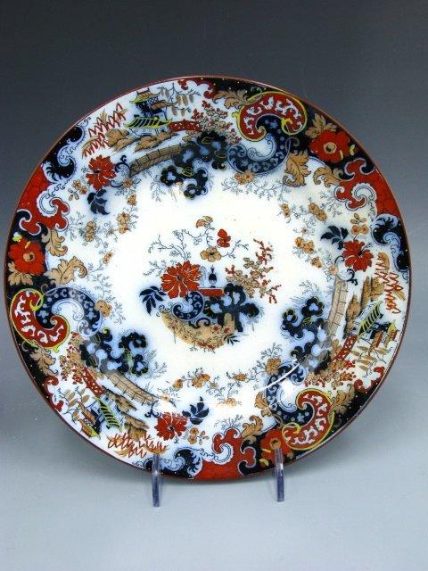 587: 12 PCS OF COREY HILL FLOW BLUE / IMARI STYLE CHINA - 7