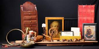 A GROUPING WITH SMOKING PIPES AND DECORATIVE ANTIQUES