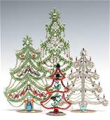 A COLLECTION OF VINTAGE CZECH CRYSTAL CHRISTMAS TREES