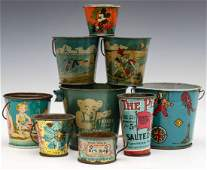 A COLLECTION OF CHILDREN'S TIN LITHO PAILS AND CUPS