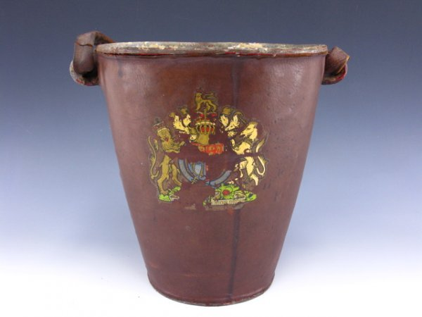 6: A BRITISH LEATHER COVERED FIRE BUCKET
