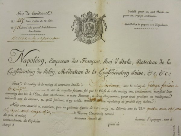 536: 1813 MARITIME DOCUMENT SIGNED BY NAPOLEON