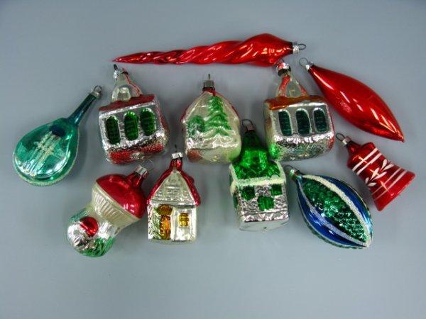 11 GLASS CHRISTMAS ORNAMENTS, CHURCH, HOUSE