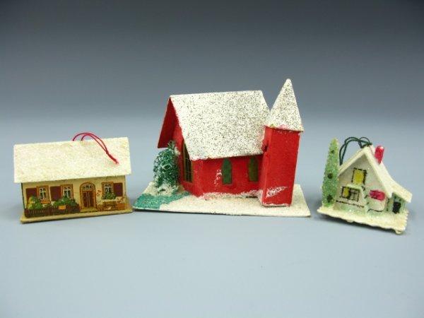3 CZECH & GERMAN CARDBOARD CHRISTMAS ORNAMENTS