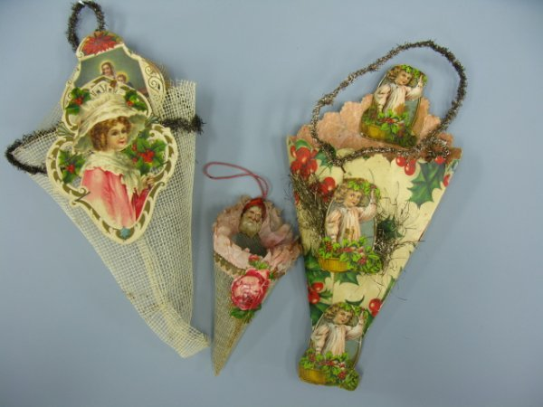 THREE VICTORIAN CHRISTMAS CONE CORNUCOPIA ORNAMENTS