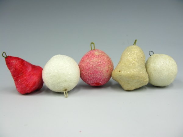 4 VICTORIAN COTTON CHRISTMAS ORNAMENTS BELL, CHERRY
