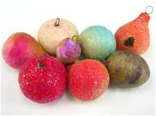 8 VICTORIAN COTTON CHRISTMAS FRUIT ORNAMENTS PEAR CHER