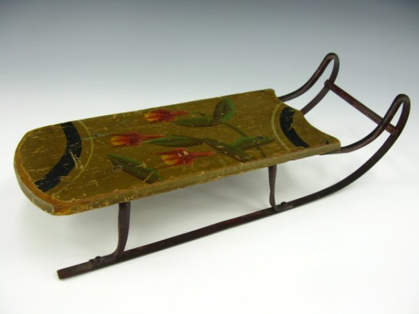 GREAT VICTORIAN DOLL SIZED SLED WITH ORIGINAL PAINT