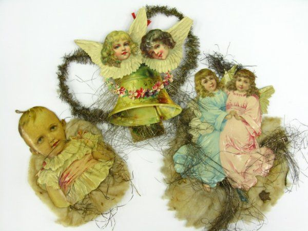 VICTORIAN SCRAP & TINSEL COTTON CHRISTMAS ORNAMENTS
