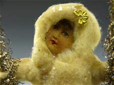 VICTORIAN COTTON  LITHO GIRL ON SWING XMAS ORNAMENT