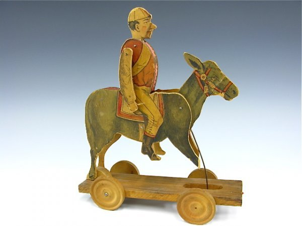 2 WOOD AND PAPER LITHO PULL TOYS 1800'S
