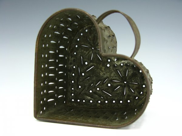 EARLY PIERCED TIN HEART FORM CHEESE MOLD