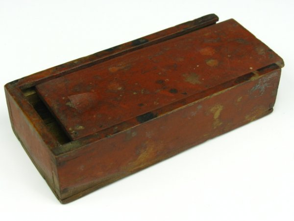 EARLY SLIDING LID WOODEN BOX IN OLD PAINT