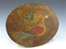 19TH CENTURY PAINT DECORATED OVAL BAND BOX W LID