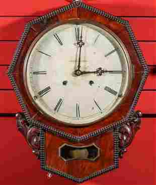 A MID 19TH C. CHAUNCEY JEROME OCTAGON DROP WALL CLOCK