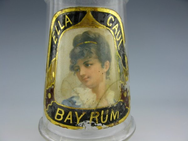 LABEL UNDER GLASS BARBER BOTTLE W/ LADY
