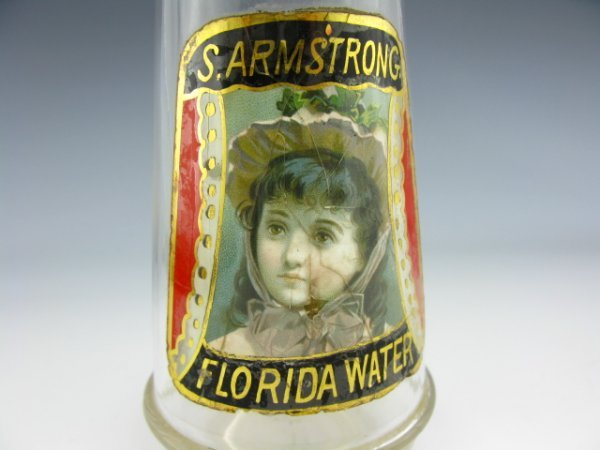 LABEL UNDER GLASS VICTORIAN CHILD BARBER BOTTLE