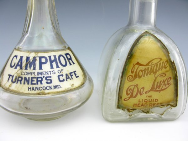 TWO LABEL UNDER GLASS TONIC BOTTLES