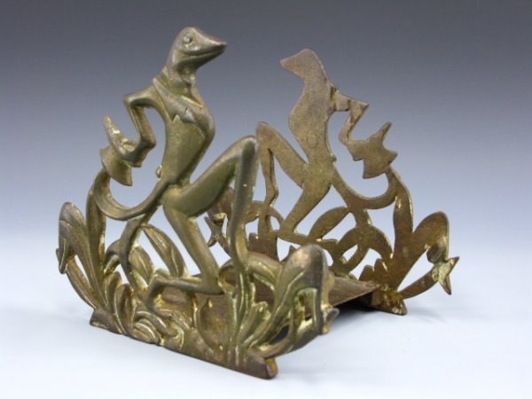 ART DECO CAST IRON DANCING FROGS FISH BOWL STAND