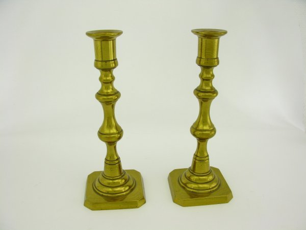 TWO BRASS CANDLESTICKS SIGNED ROSTAND