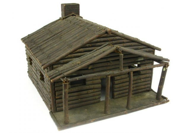 FOLK ART MINIATURE LOG CABIN MODEL