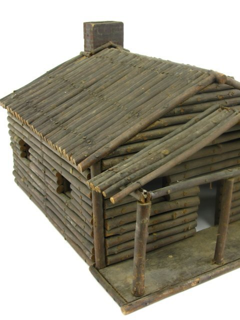 FOLK ART MINIATURE LOG CABIN MODEL - 2
