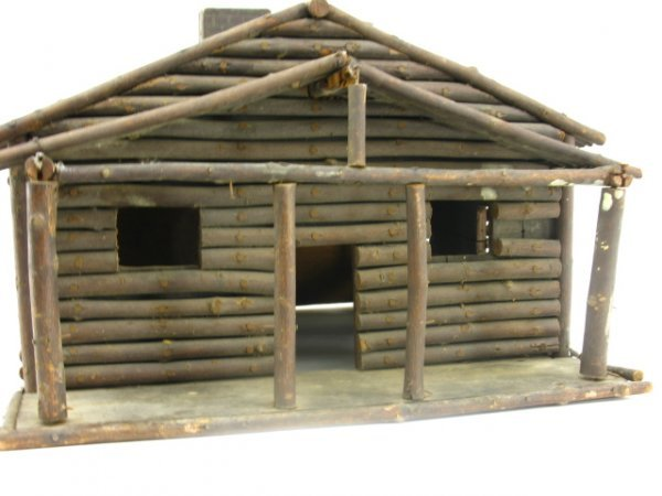 FOLK ART MINIATURE LOG CABIN MODEL - 4