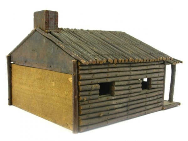FOLK ART MINIATURE LOG CABIN MODEL - 5