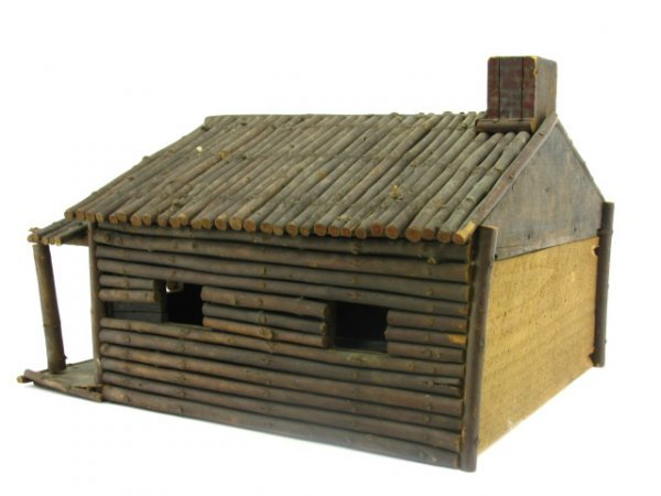 FOLK ART MINIATURE LOG CABIN MODEL - 6