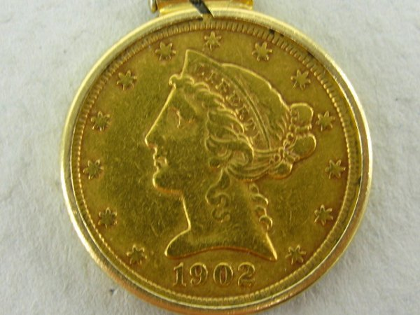 1902 GOLD LIBERTY HEAD FIVE DOLLAR COIN MINT S