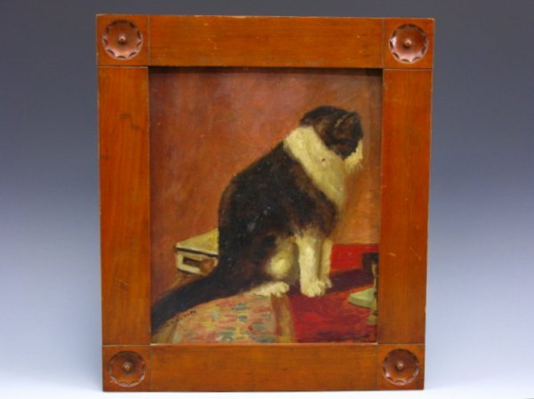 GREAT 1884 FOLK ART PAINTING WITH FAT CAT