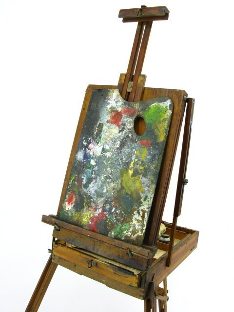 ANTIQUE FOLDING ARTIST'S PAINTING EASEL
