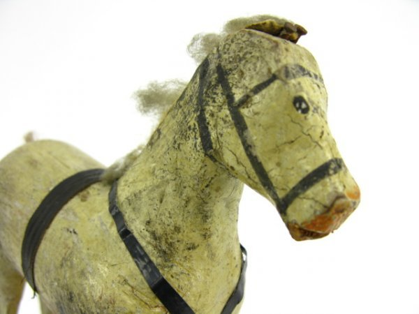 13: 19TH CENTURY COMPOSITION & WOOD TOY HORSE