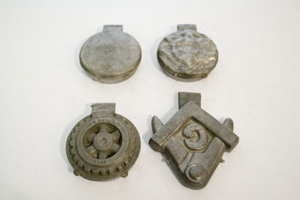 54: FOUR ANTIQUE PEWTER ICE CREAM MOLDS