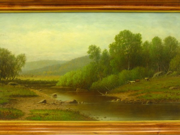 216: 1800'S C.W. KNAPP OIL-ON-CANVAS LANDSCAPE