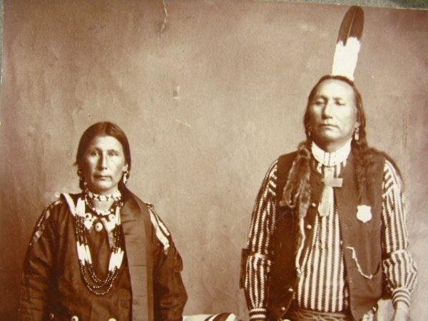503: CABINET PHOTO OF TWO PONCA INDIANS C. 1890