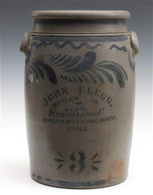 A UNIQUE MERCHANT'S CROCK FOR CLEGG OF ROUND BOTTOM OH