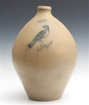 A 19TH C. OVOID JUG WITH ETCHED BIRD SIGNED S.S. PERRY