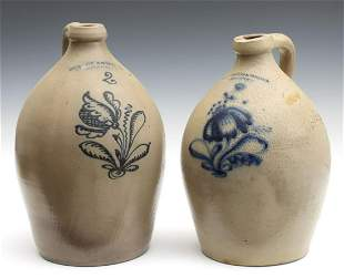 TWO 19TH C. NEW YORK BLUE DECORATED STONEWARE JUGS