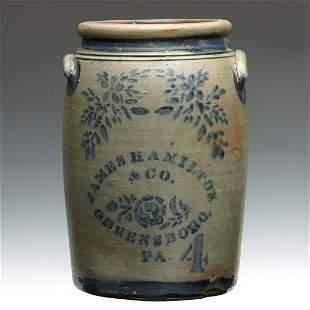 A 19TH C. BLUE DECORATED JAR SIGNED JAMES HAMILTON