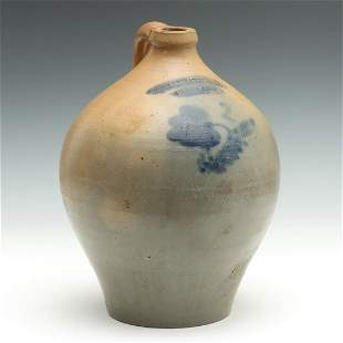 A 19TH C. BLUE DECORATED JUG SIGNED CHOLLAR DARBY & CO.